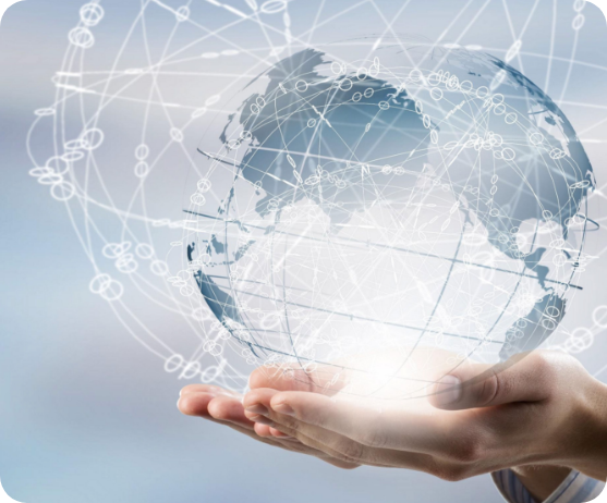 Business Technology Hands Holding Globe Graphic
