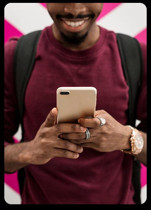 Man Using APN Mobile Device
