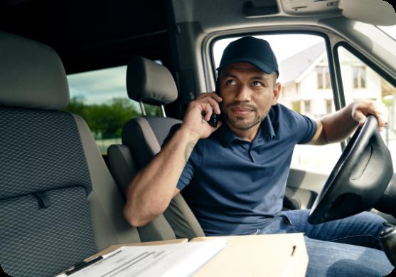 Asset Tracking Man In Car Delivering A Parcel