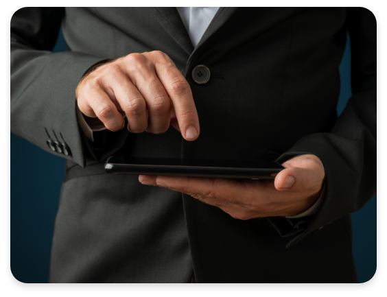 Mobile Device Management Businessman Using Mobile Phone