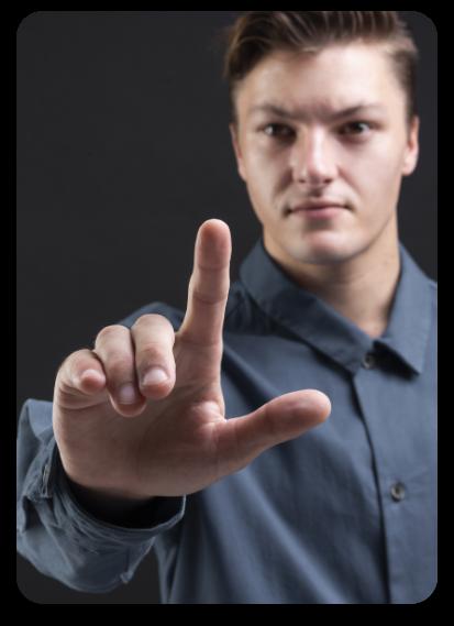 Biometric Access Control System Man Presenting Index Finger