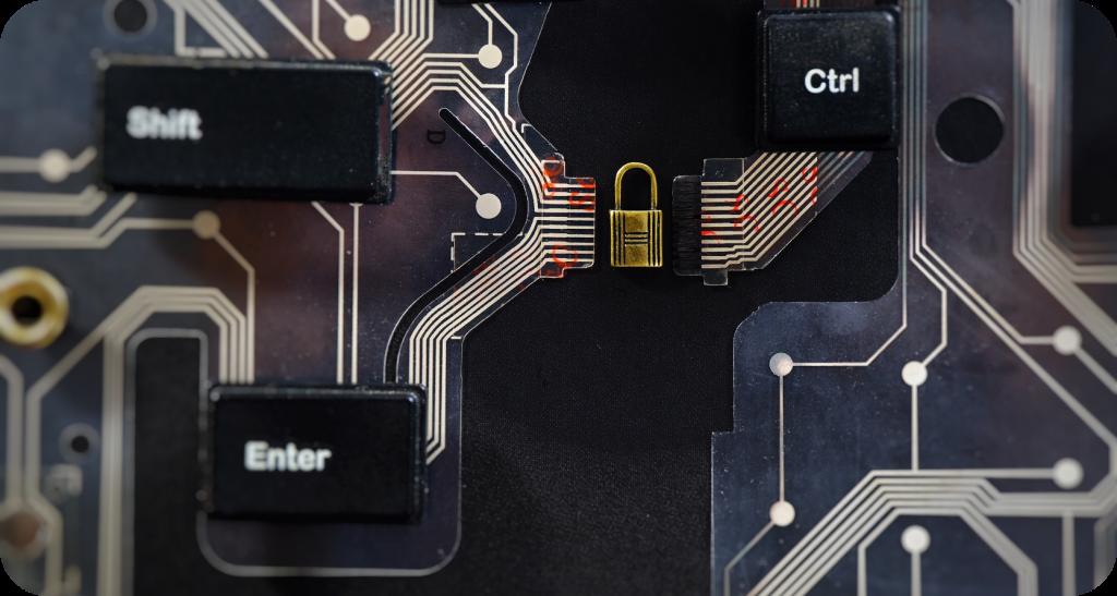 Cyber Security Padlock On Keypad