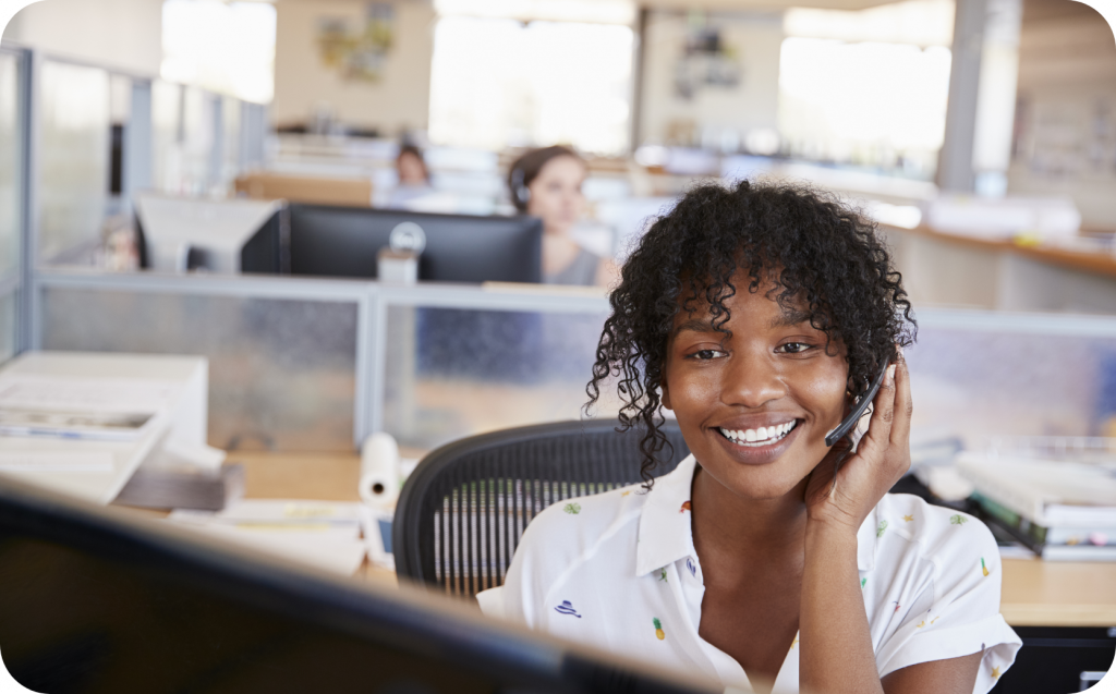 Hybrid PBX Woman With Headsets On A Call