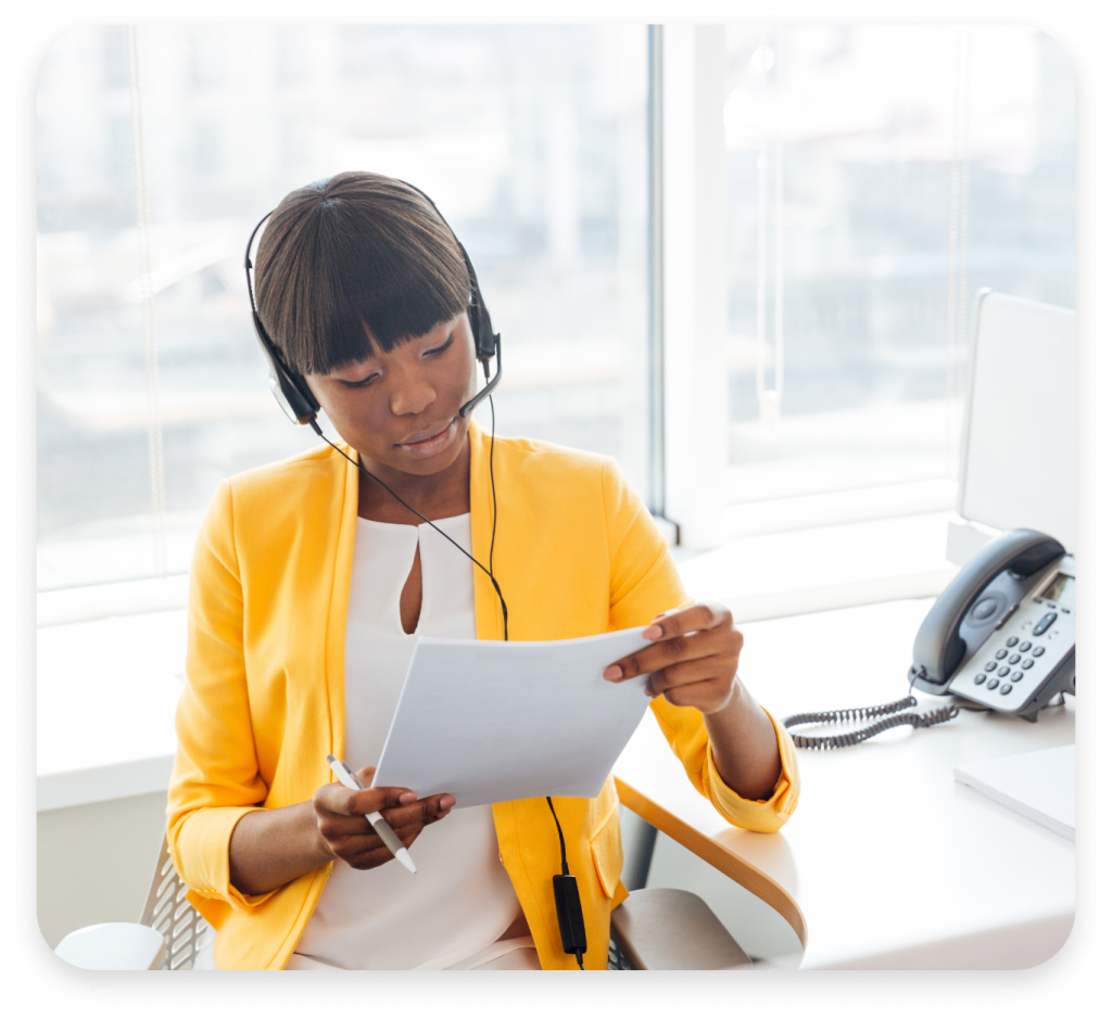 Cloud PBX Woman With Headsets On A Call