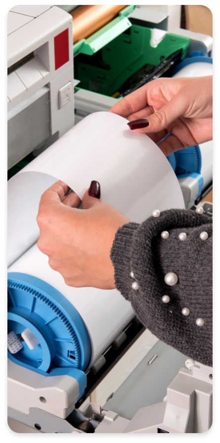Multifunction Printers Woman Holding Roll Of Paper