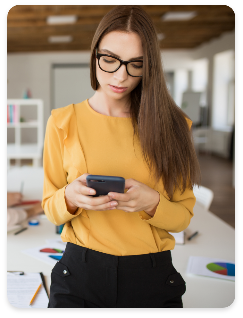 Woman Using Unified Communications Mobile Device