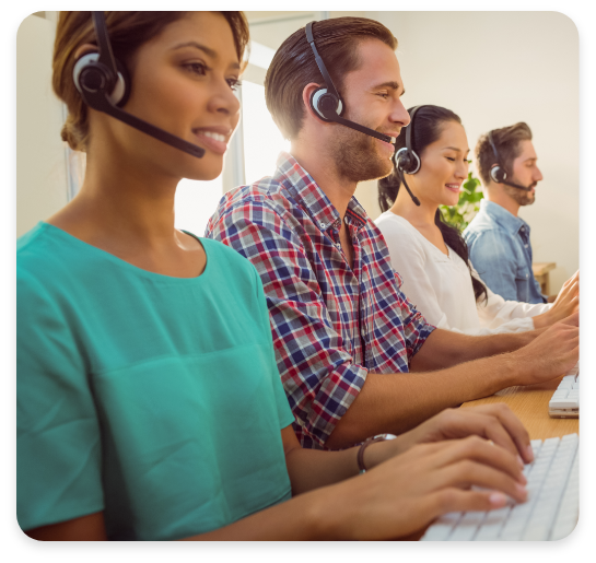 Team With Headsets On Cloud PBX Calls