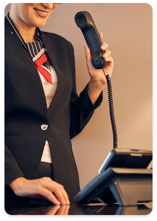 Woman On Hybrid PBX Business Call